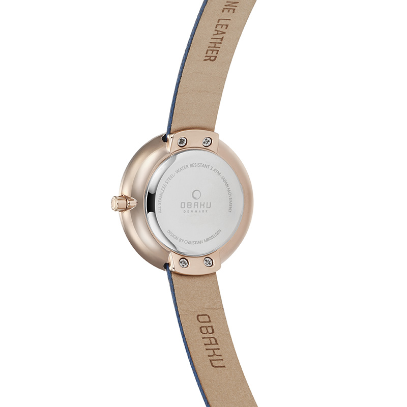 Obaku Women watch STILLE - NAVY BACK view