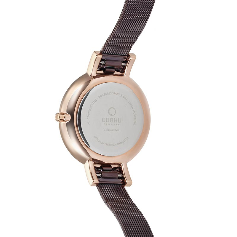 Obaku Women watch LUN - WALNUT BACK view