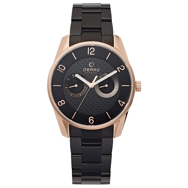 Obaku Men watch FLINT - INK FRONT view