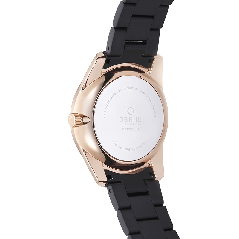 Obaku Men watch FLINT - INK BACK view