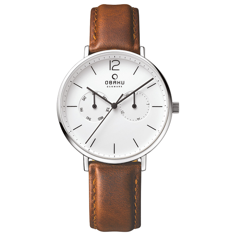 Obaku Men watch FLOD - MOCHA FRONT view