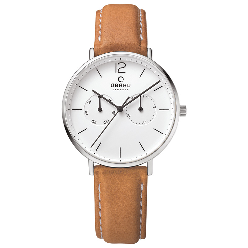 Obaku Men watch FLOD - COGNAC FRONT view