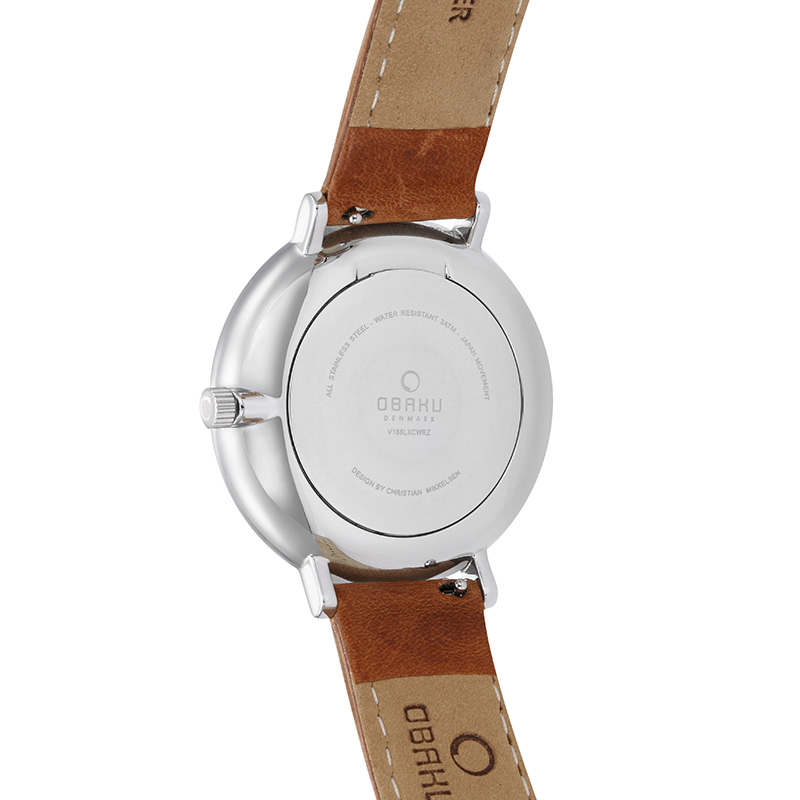 Obaku Men watch FLOD - COGNAC BACK view