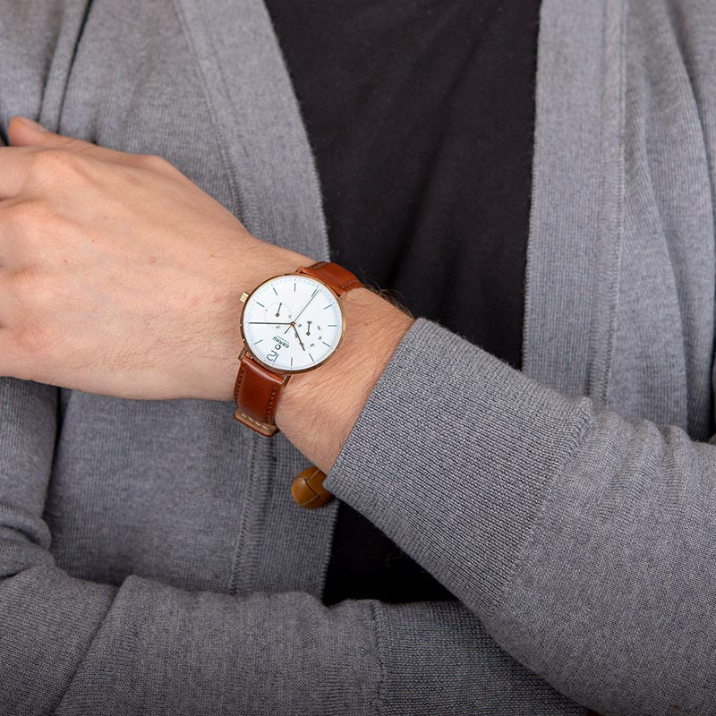 Obaku Men watch FLOD - MAHOGANY WRIST view