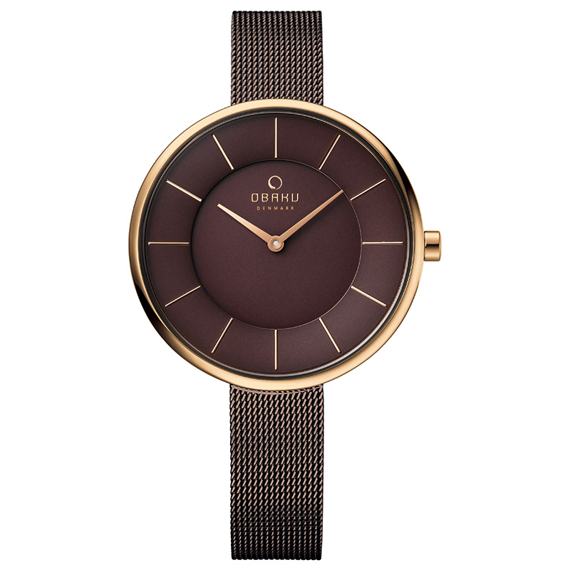 Obaku Women watch SAND - WALNUT FRONT view