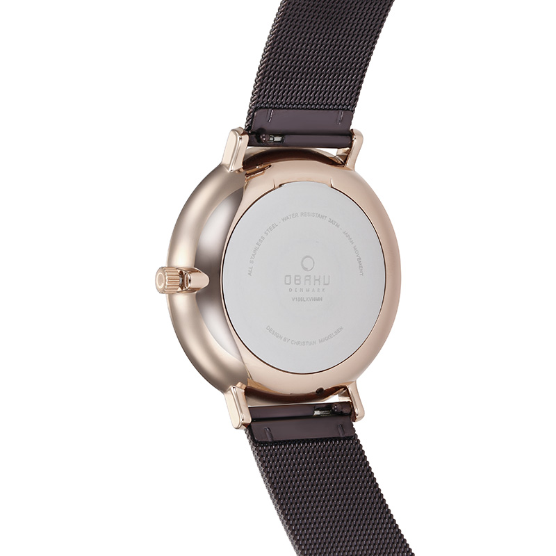 Obaku Women watch VEST - WALNUT BACK view