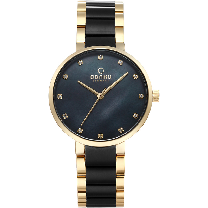 Obaku Women watch GLAD - BLACKGOLD FRONT view