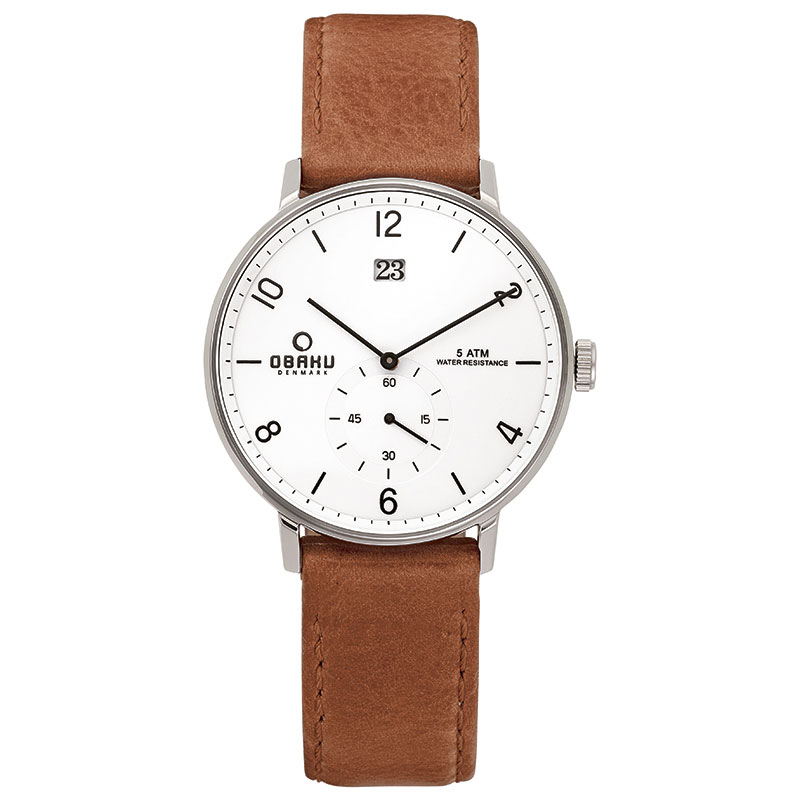 Obaku Men watch RISLEN - COGNAC FRONT view