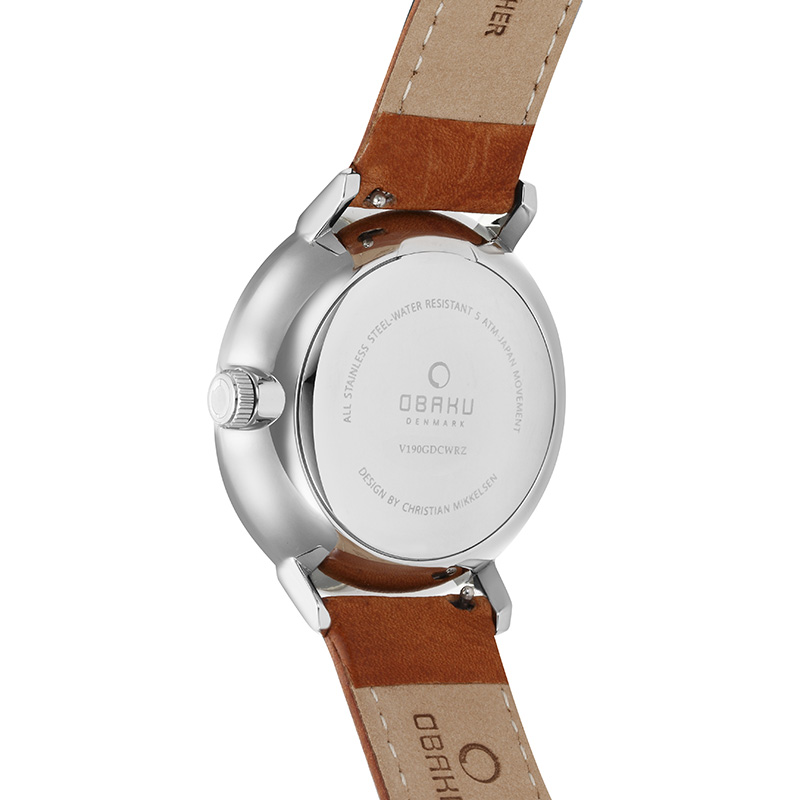 Obaku Men watch RISLEN - COGNAC BACK view