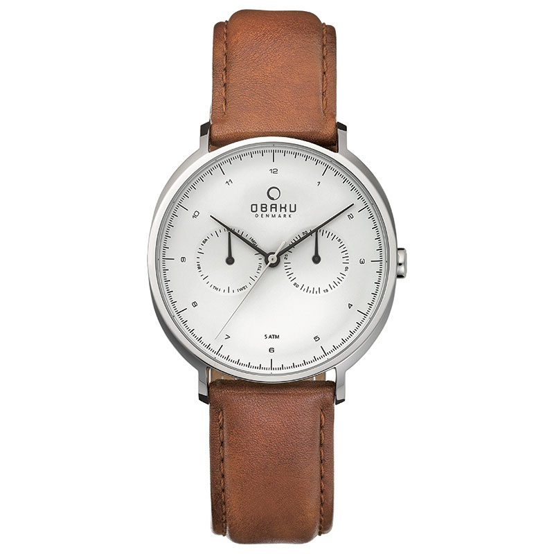 Obaku Men watch AHORN - COGNAC FRONT view