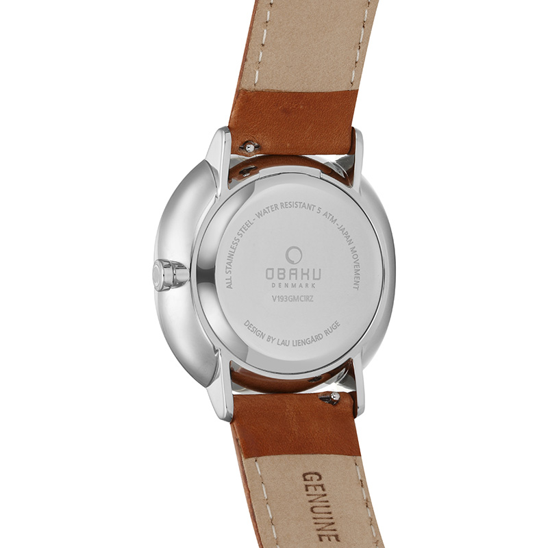 Obaku Men watch AHORN - COGNAC BACK view