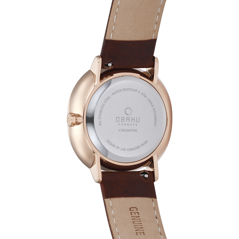 Obaku Men watch AHORN - MAHOGANY BACK view