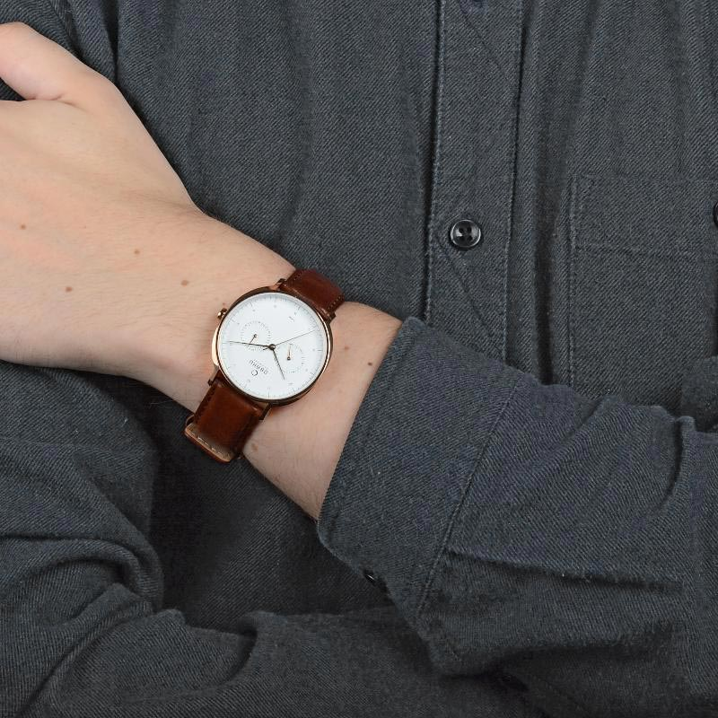 Obaku Men watch AHORN - MAHOGANY WRIST view