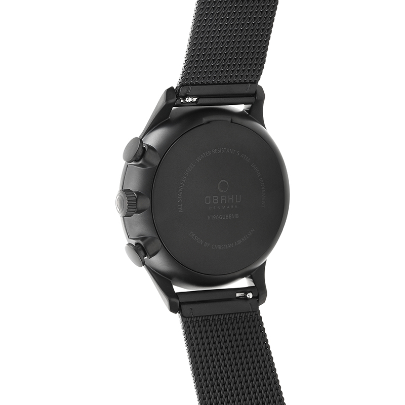 Obaku Men watch GRAN - CHARCOAL BACK view