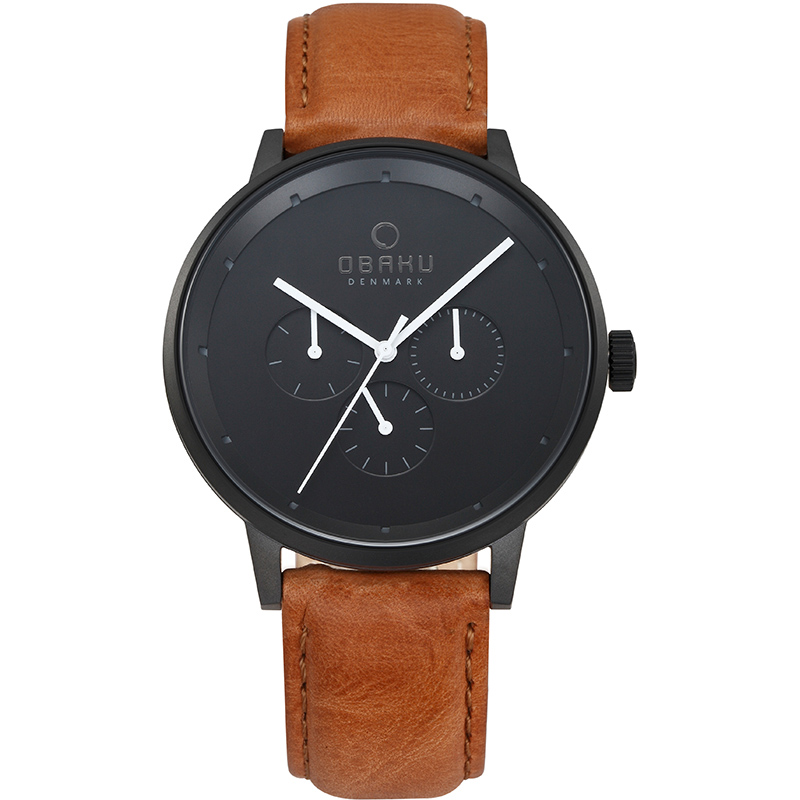 Obaku Men watch VENLIG - TAN FRONT view